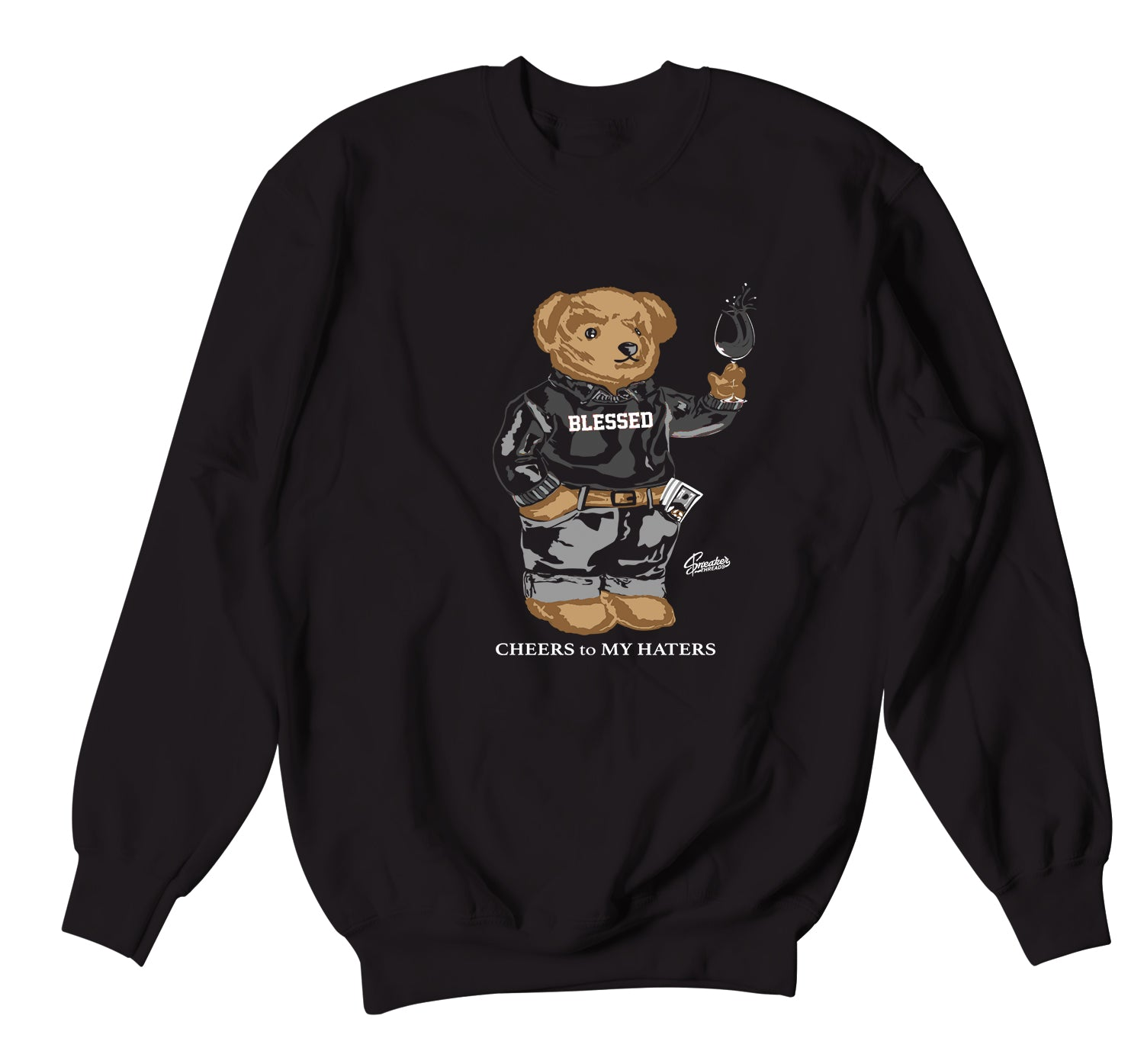 Jordan 4 Black Cat Cheers Bear Sweater