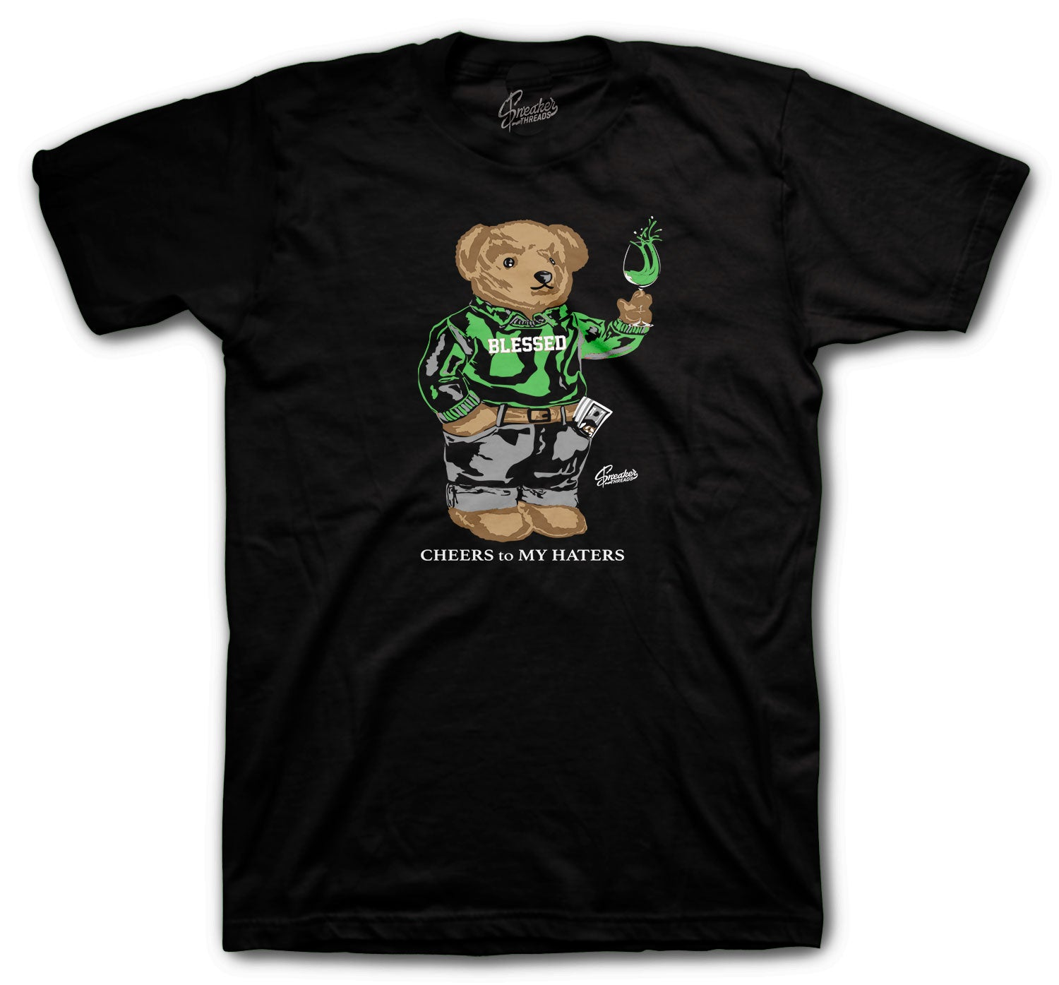 Jordan 1 Zen Green Cheers Bear Shirt