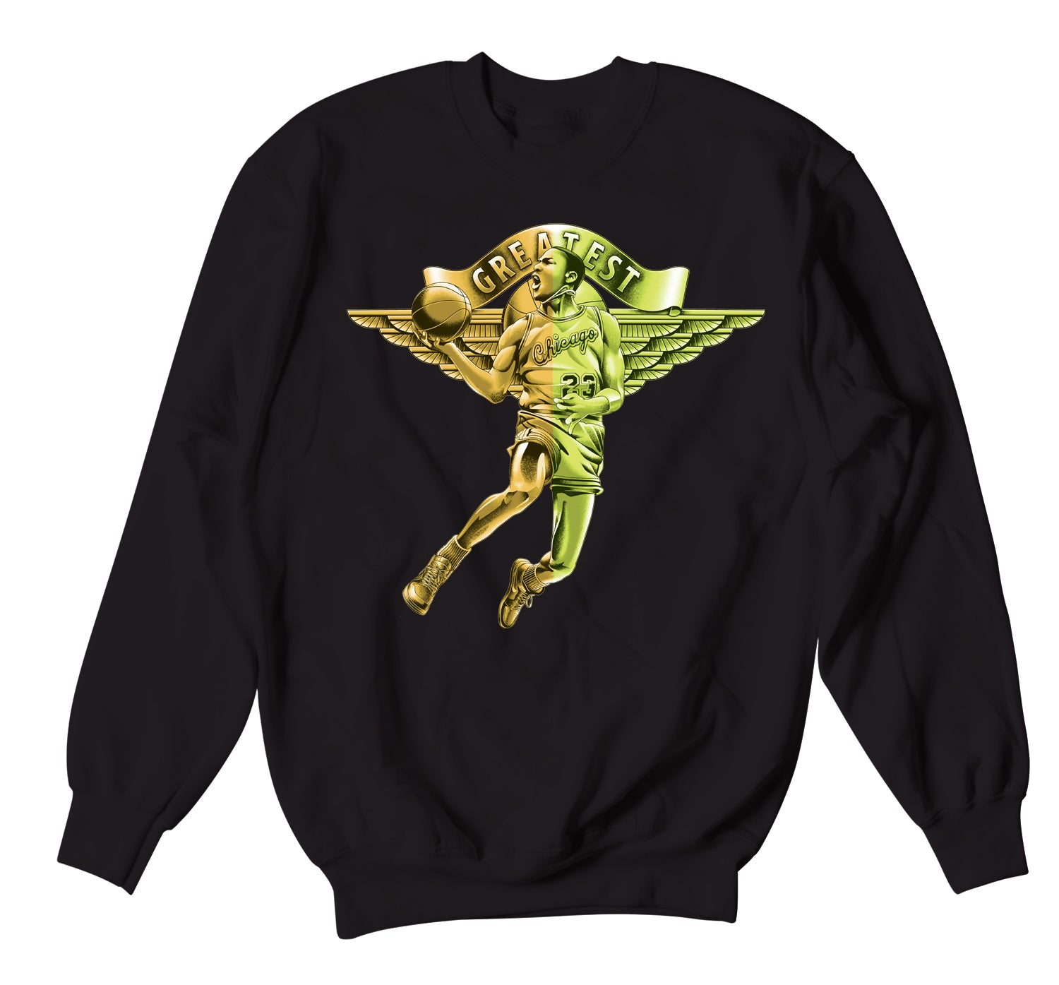 Jordan 1 volt gold sneaker has matching crew neck sweater collection