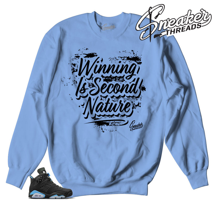 Sweaters match Jordan 6 UNC carolina blue sneakers.