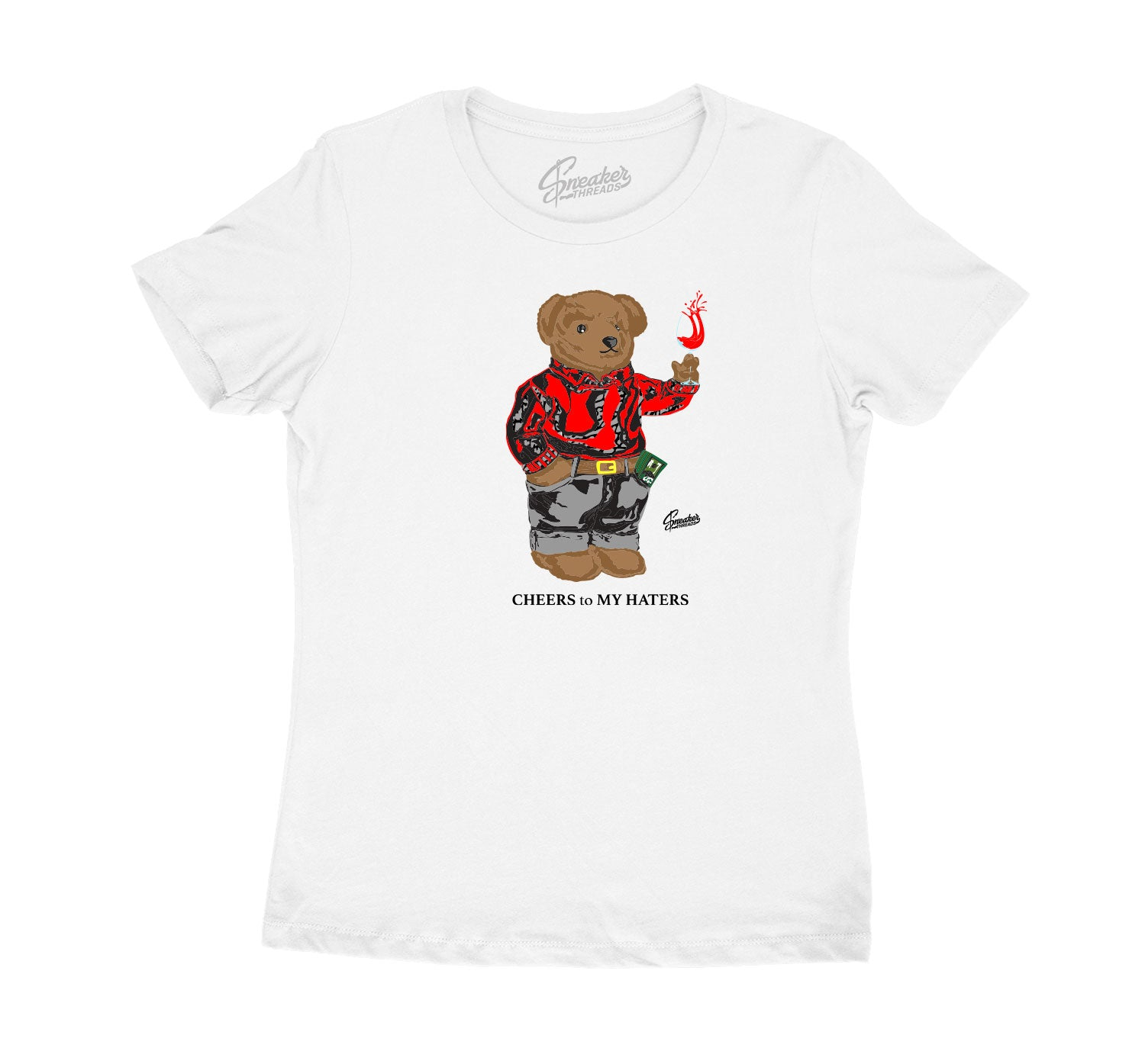 Womens - Red Cement 3 Cheers Bear Shirt