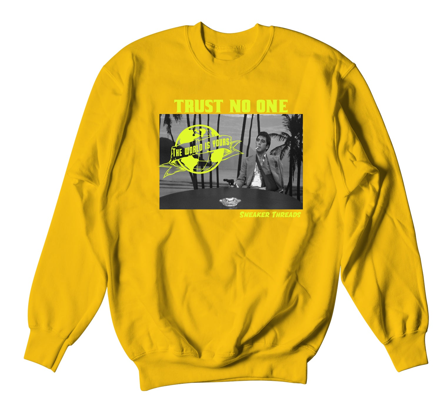 Mens sweaters to match the Jordan 1 volt gold sneaker collection