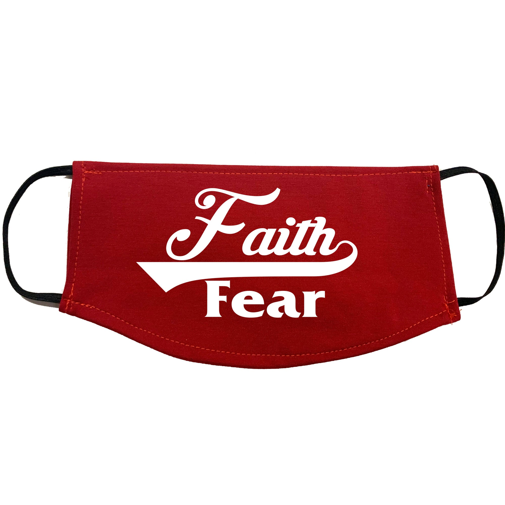 Adult Face Mask - Faith Over Fear Design - Gym Red
