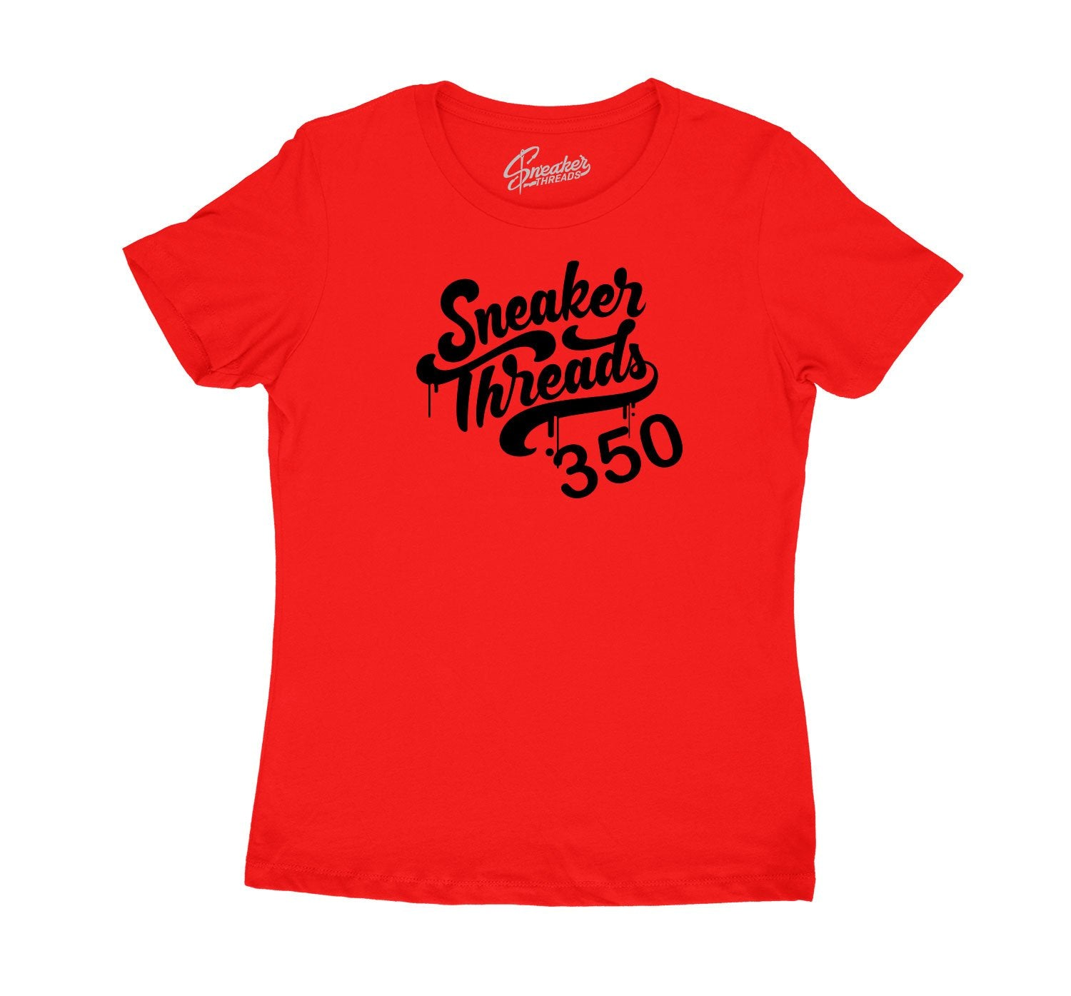 Red ladies tees designed to match perfect with yeezy v2 black red sneakers