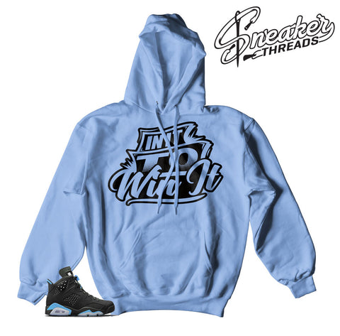 Jordan 6 UNC retro 6 hoodies match retro 6 university blue 6 shoes.
