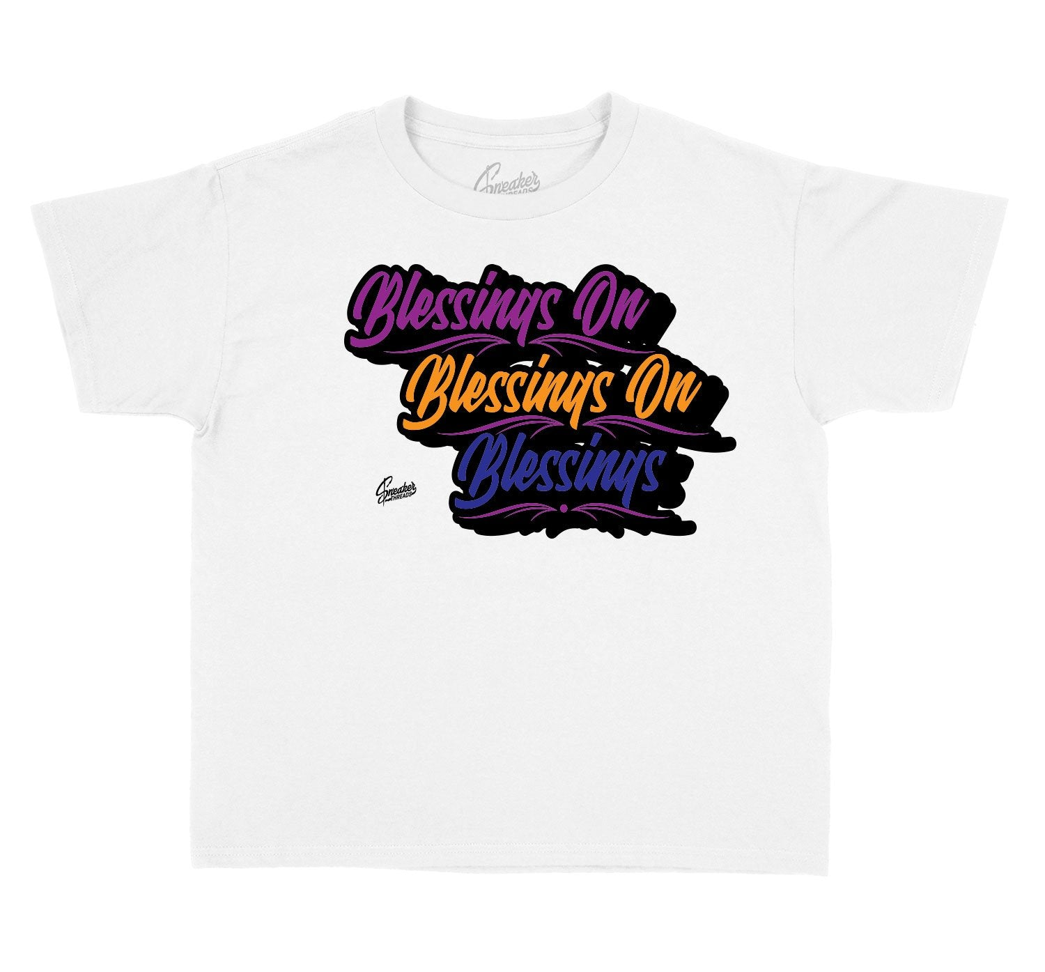 Kids tees designed to match the Jordan 4 rush violet sneakers