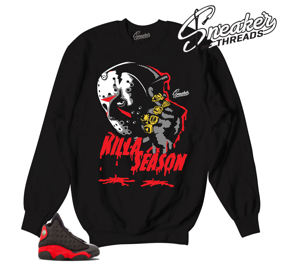 Jordan 13 bred sweaters match retro 13 sweatshirts.