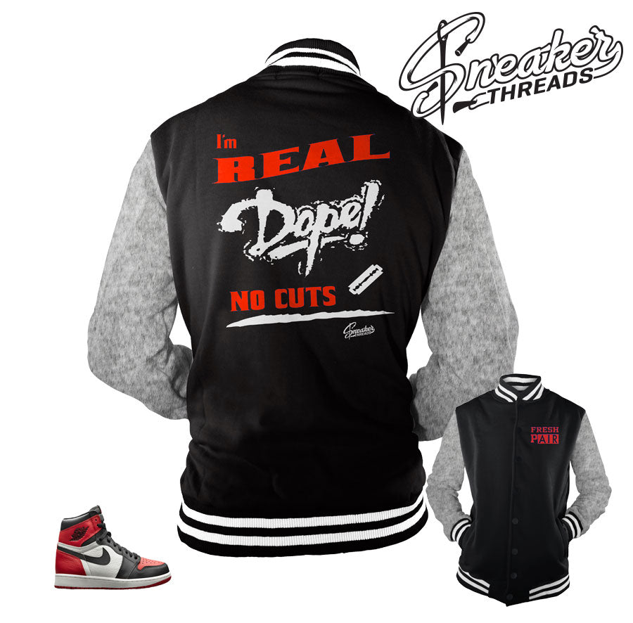 Jackets match Jordan 1 bred toe shoes | Retro 1 bred toe jacket.