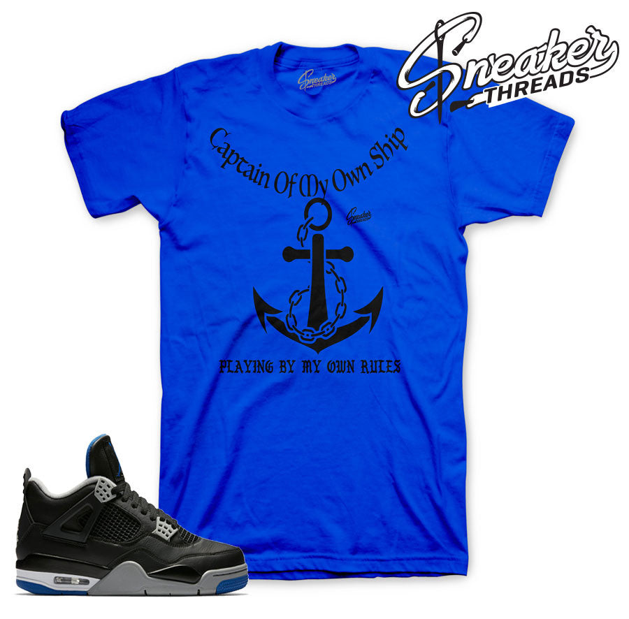 Jordan 4 black/royal tee match retro 4 motorsport shoes.