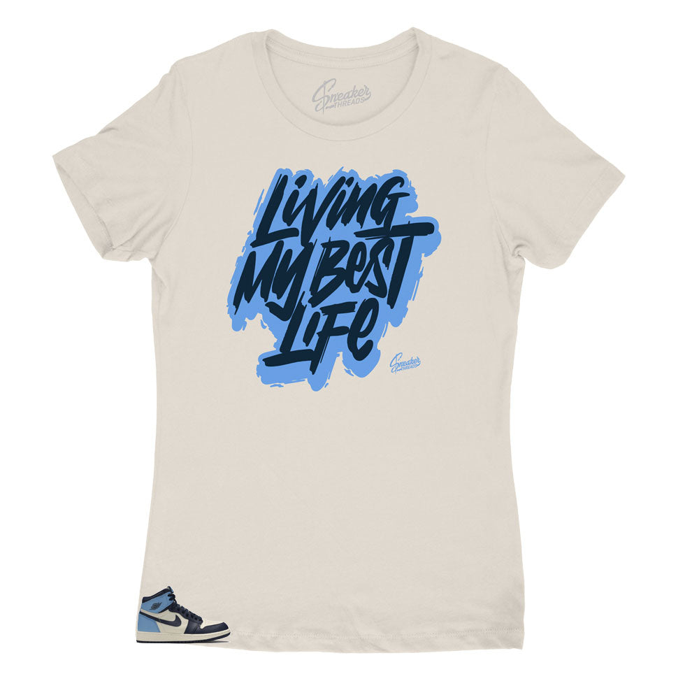 Womens tee collection designed to match perfectly with the womens Jordan 1 unc obsidian
