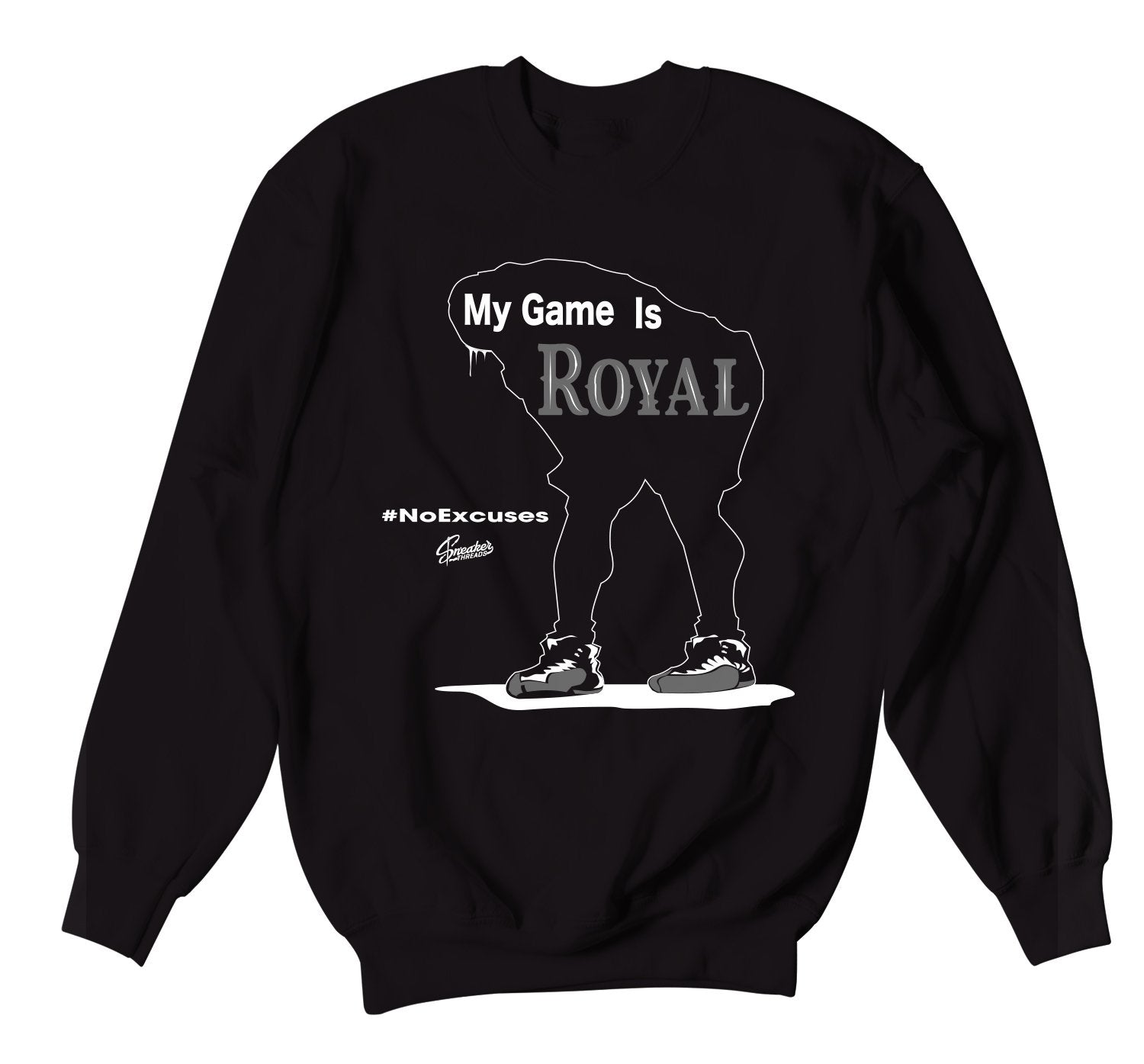 Black crewneck sweaters designed to match the Jordan 12 dark grey sneakers
