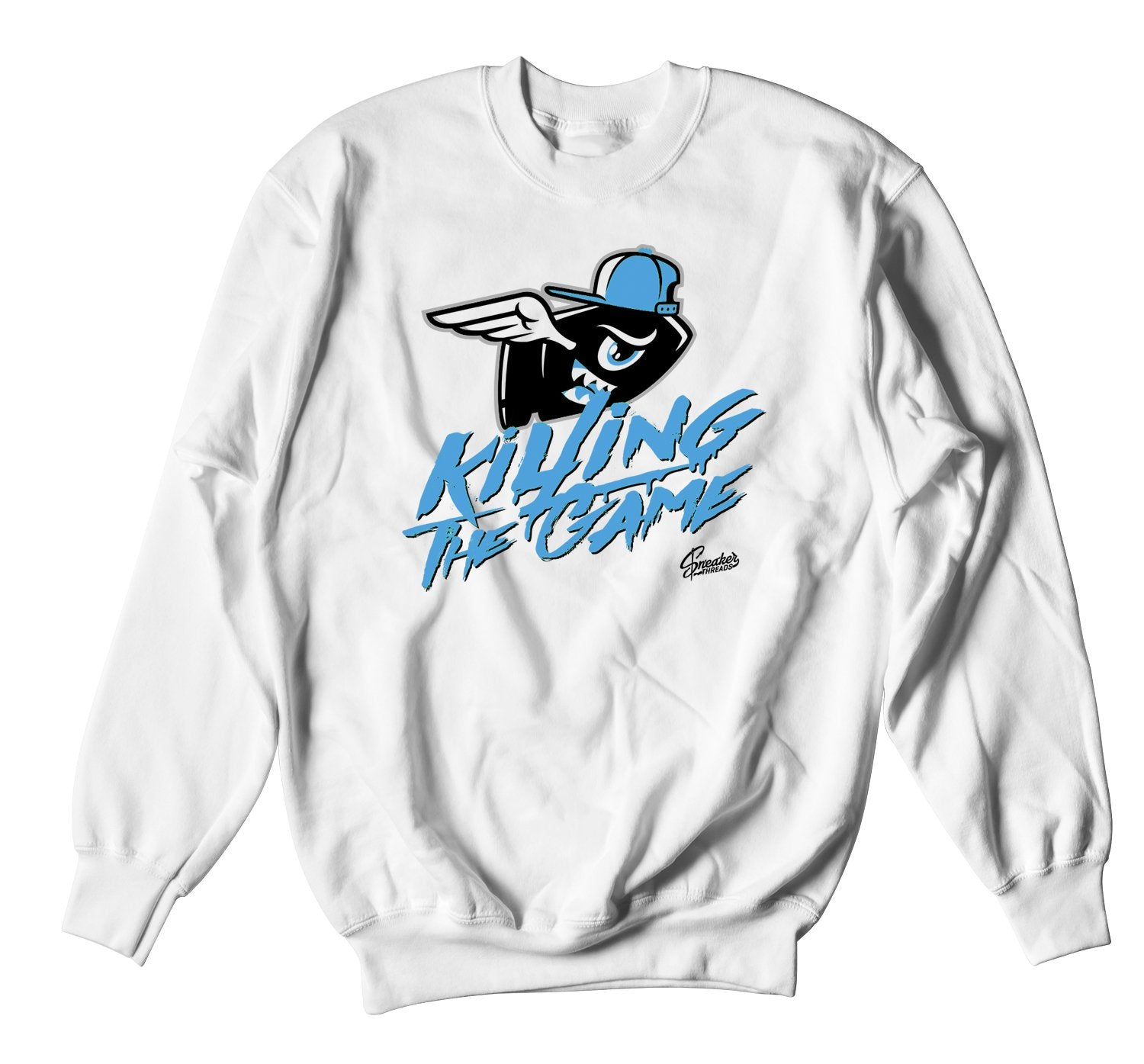 white crewneck sweater made to match perfectly with the Jordan 3 unc sneakers