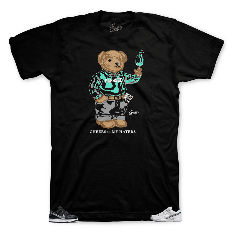 Shirts match Jordan 9 statue militia green shoes. DME square tee.