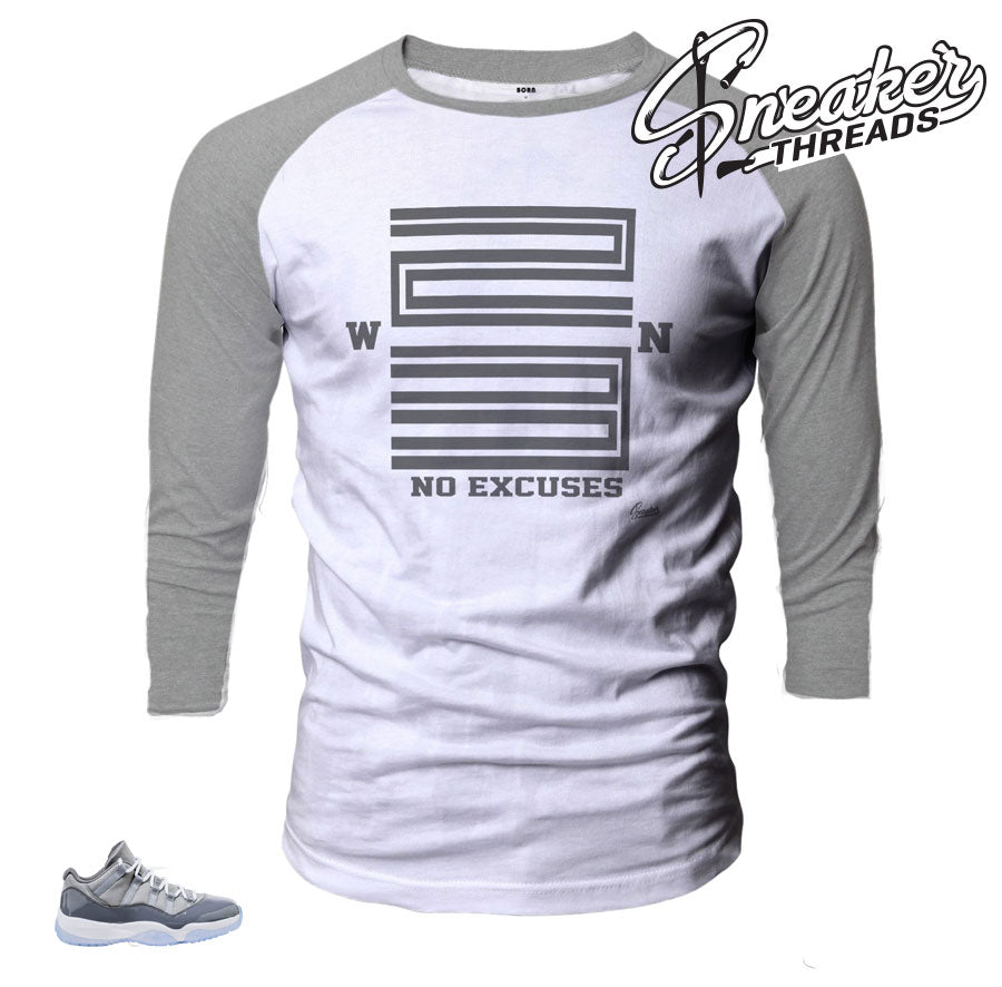 Jordan 11 cool grey low raglan shirt match retro 11 cool grey.