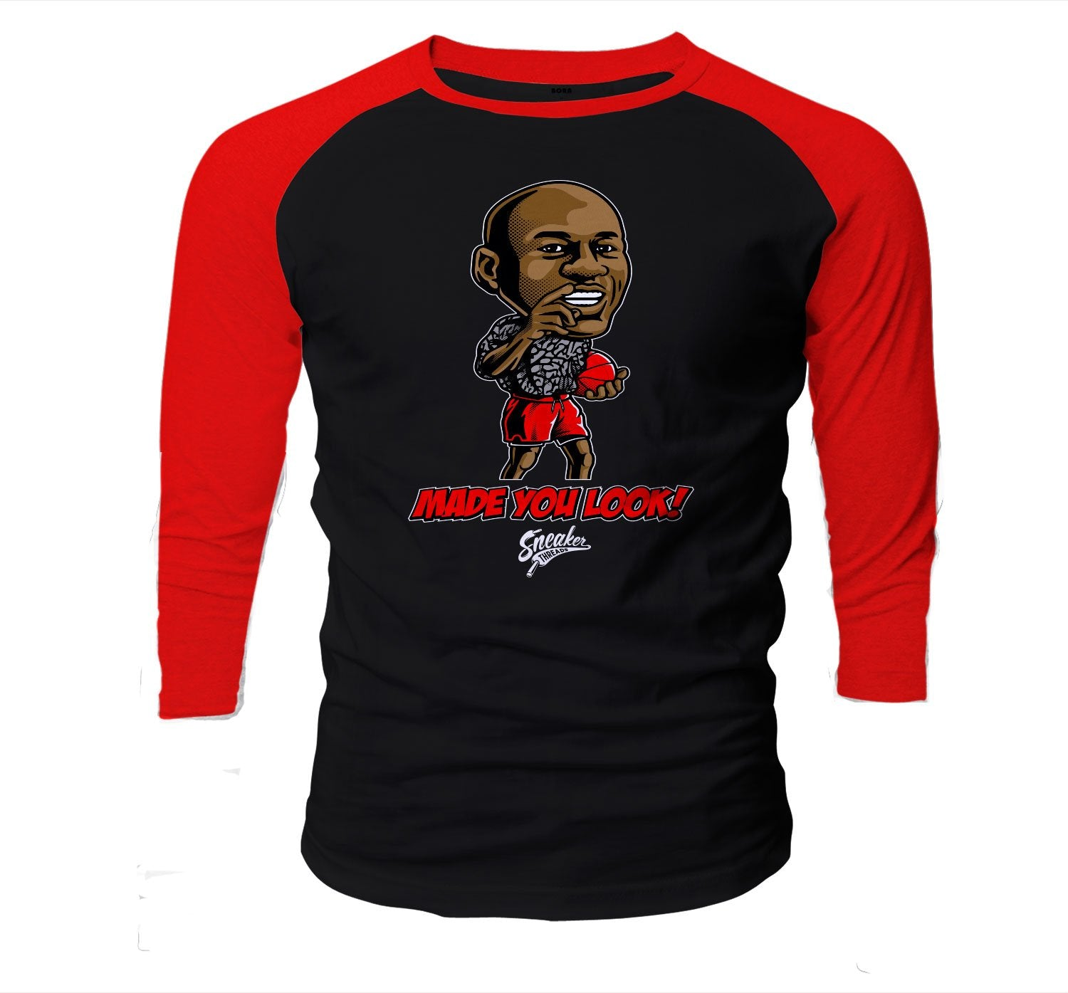 Sneaker Jordan 3 red cements have matching raglan shirt collection