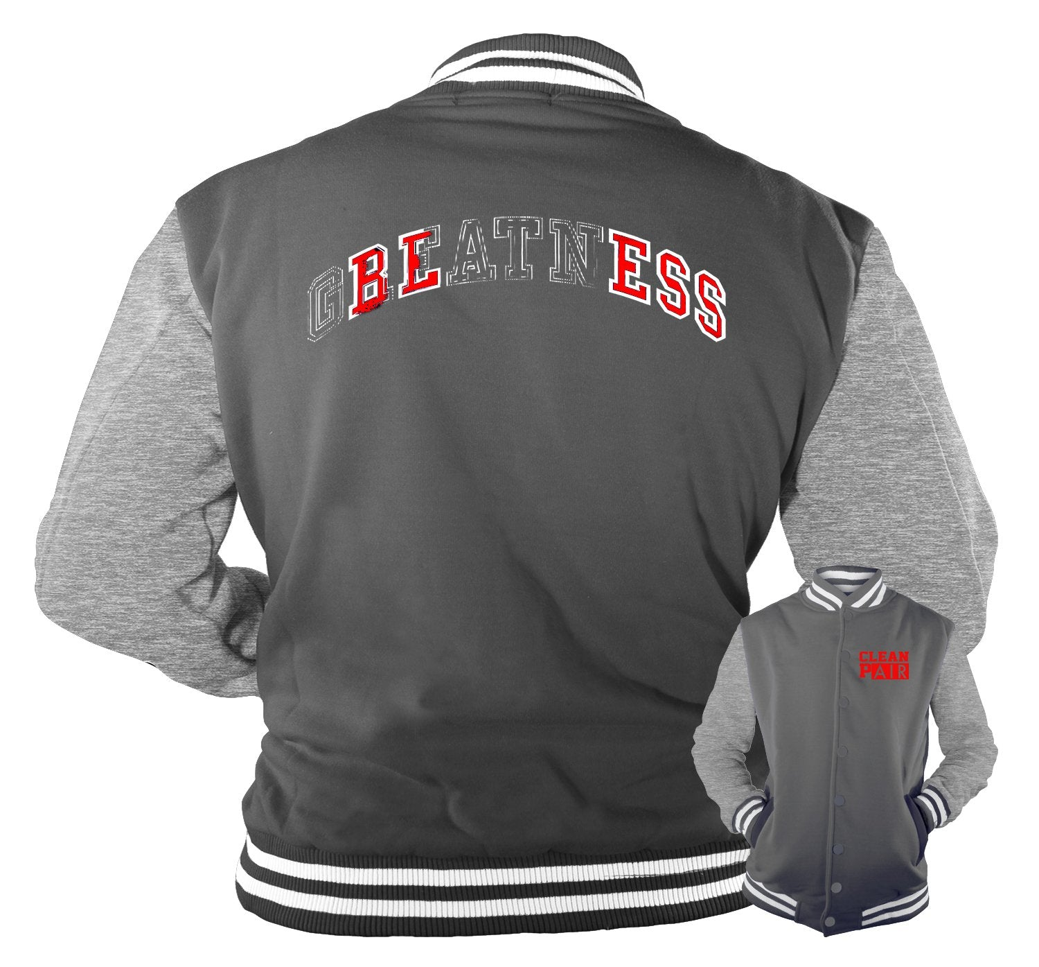 Dark Grey 12 Jordans matching varsity jacket