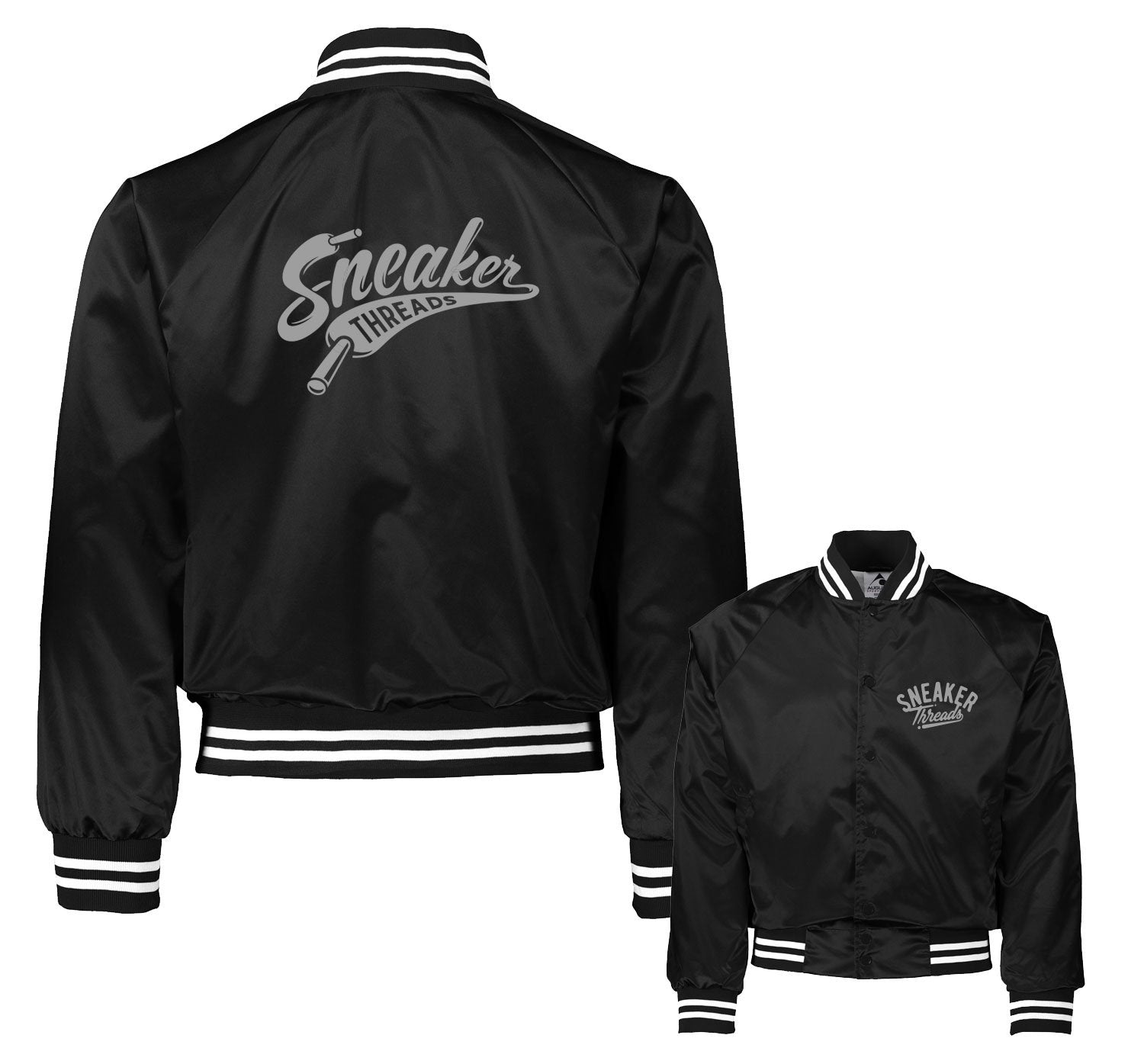 Satin Bomber jacket match Jordan 4 black cat shoes.