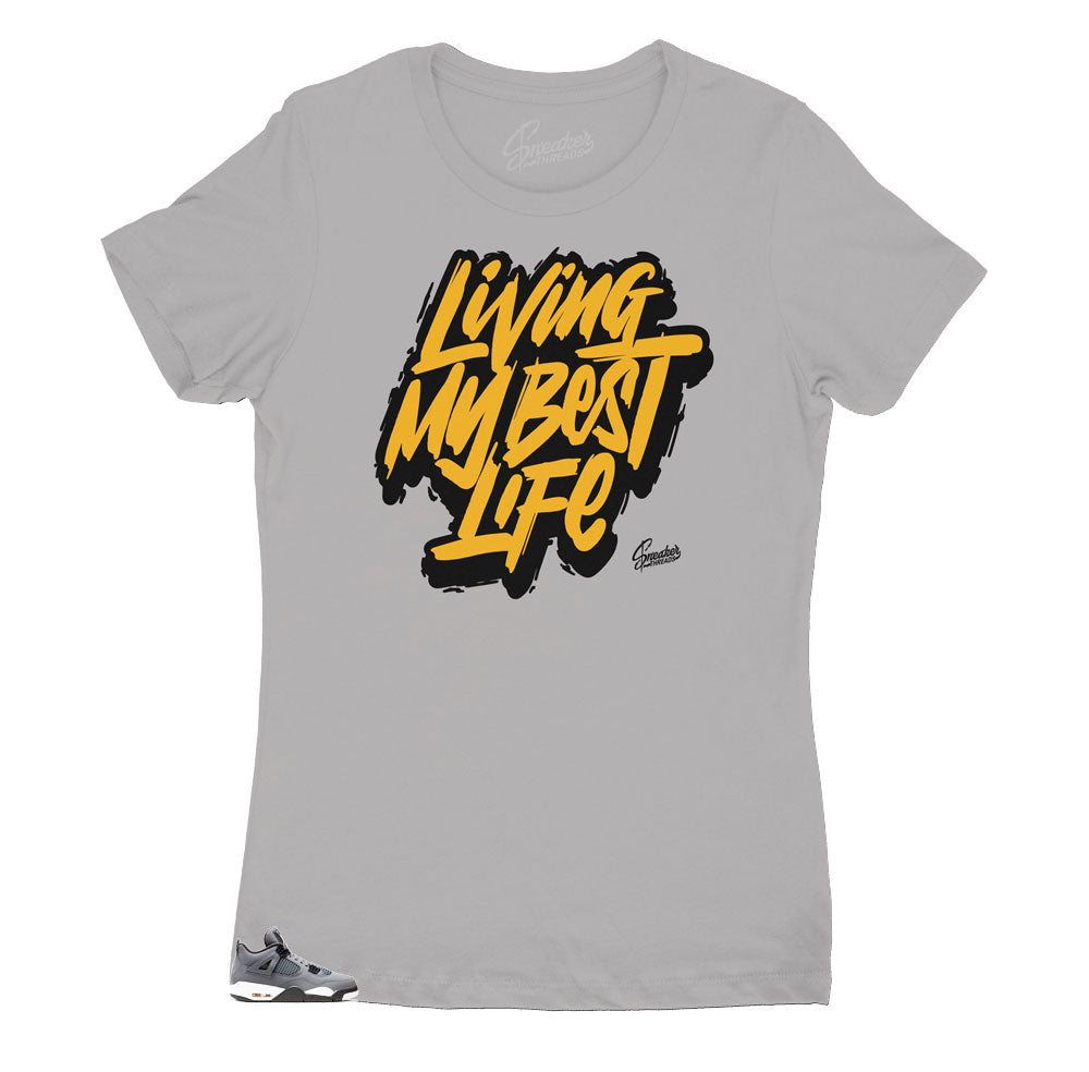 Jordan 4 retro cool grey matching women's shirts designed to match perfectly with the Jordan 4 cool grey sneakers