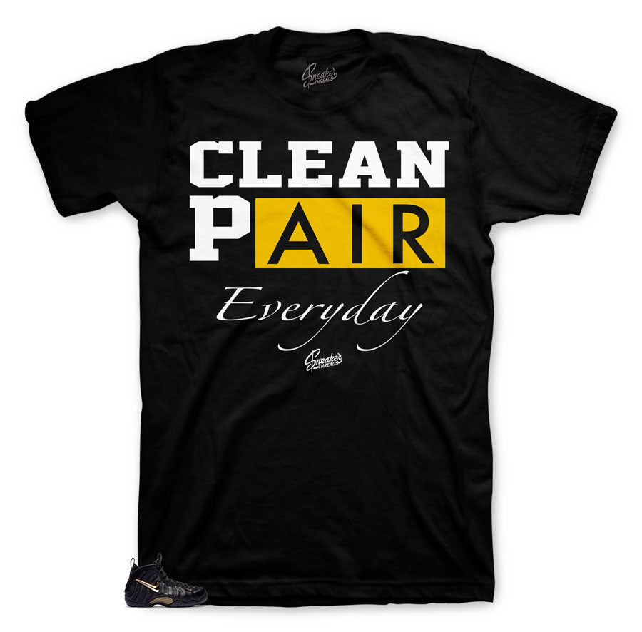 Everyday shirt to match foamposite black and gold metallic shoes.