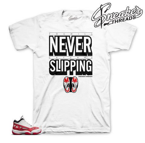 Shirt match Jordan 11 IE fire red retro 11 sneaker tees.