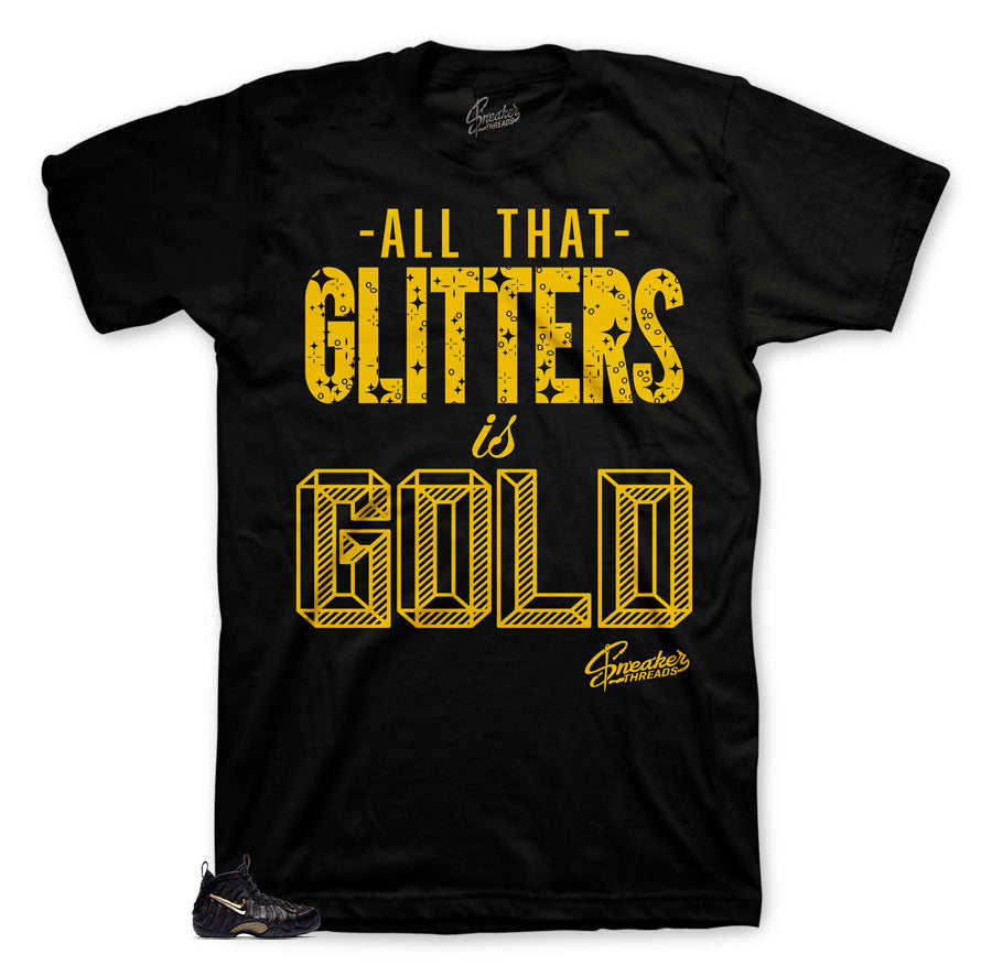 Glitters shirt to match foamposite black metallic shoes.