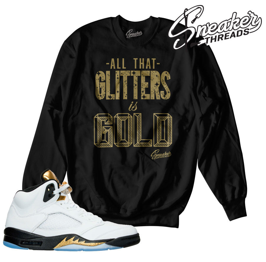 Sweaters match Jordan 5 gold tongue retro 5 olympic gold crew.