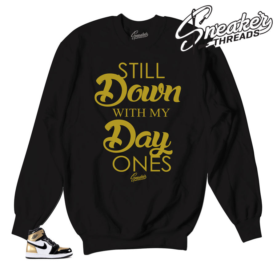Jordan 1 NRG gold toe sweatshirts match retro 1 all star apparel.