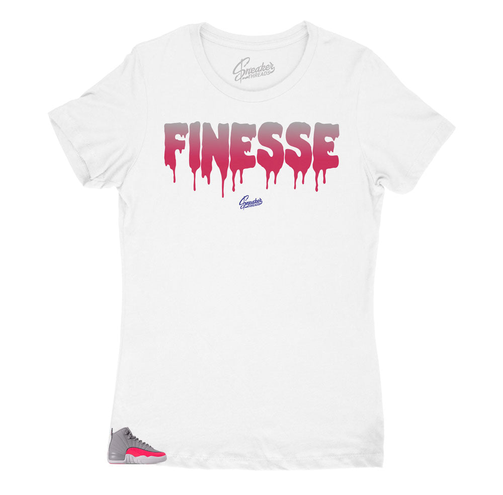 Jordan 12 Racer Pink sneaker collection has matching shirt designed to match the Jordan racer pink women's sneakers