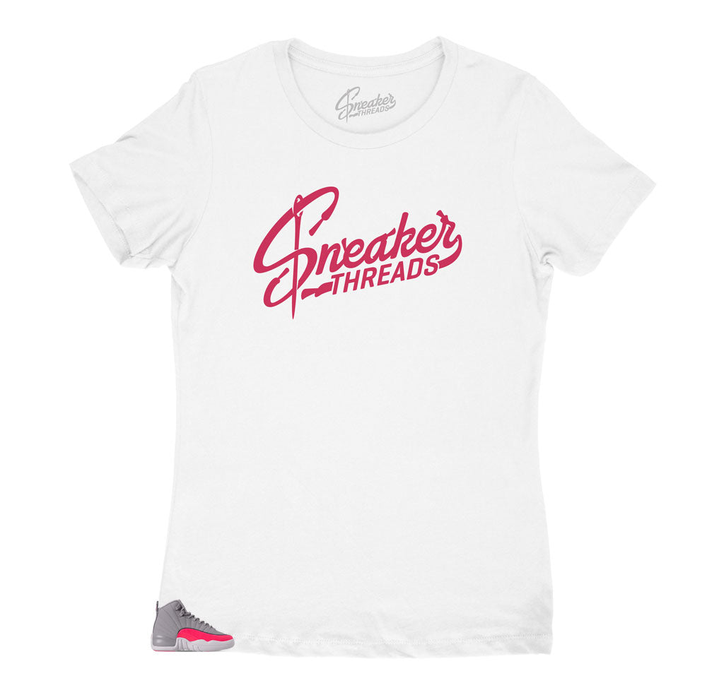 Womens shirts designed to match perfectly with the Jordan 12 women's racer pink sneaker