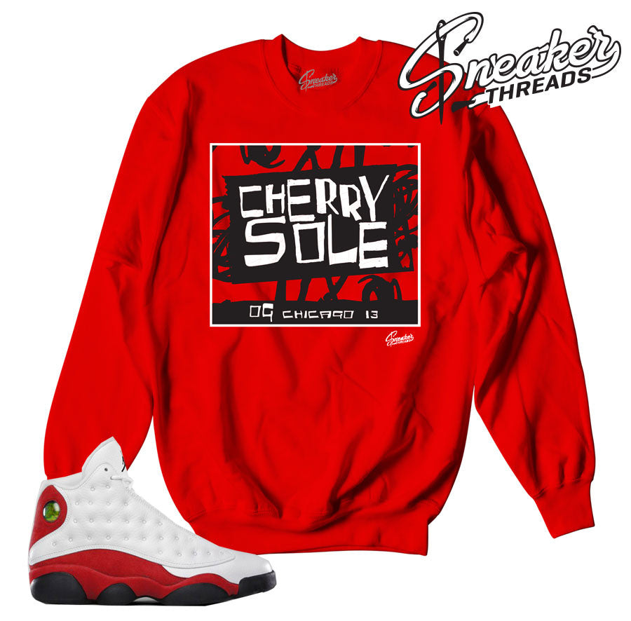 Jordan 13 Og chicago sweatshirts match sneakers.