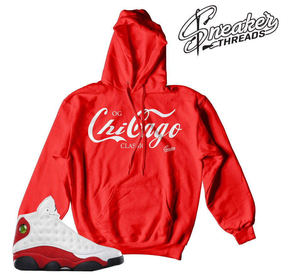 Chicago 13 hoodies match Jordan 13's sneakers.
