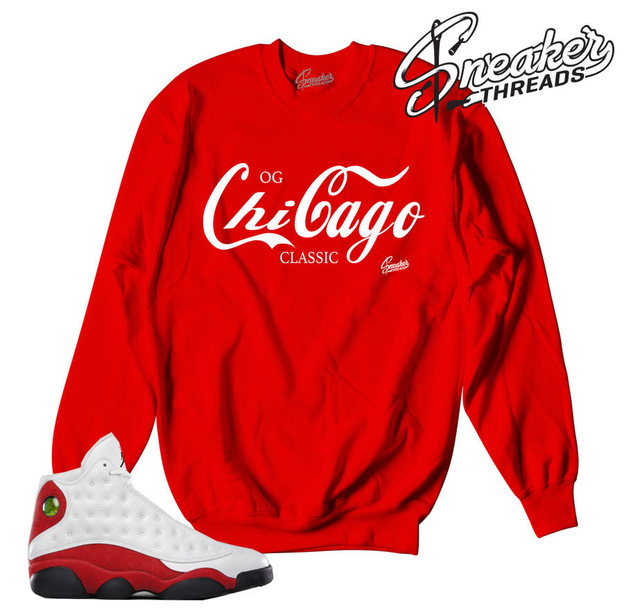 Jordan 13 Og chicago sweaters match shoes.