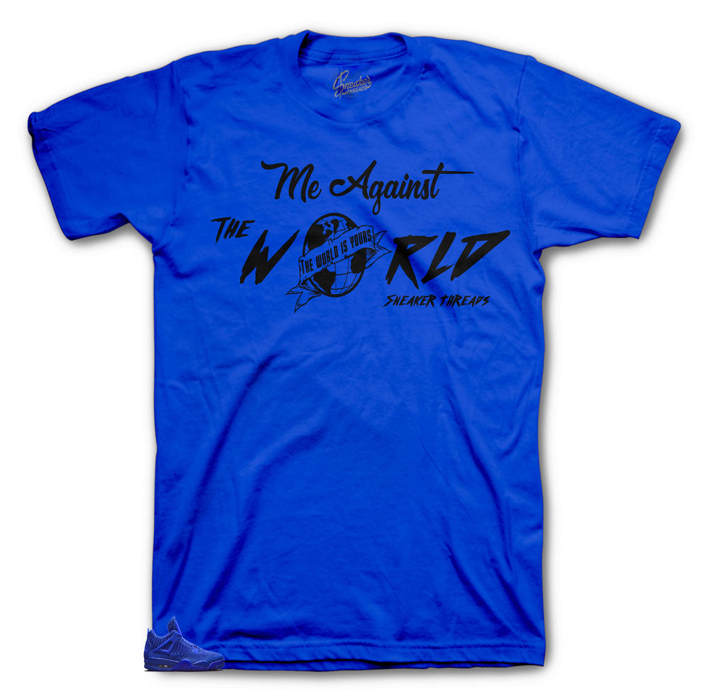 Jordan 4 Blue Flyknit Against The world tee