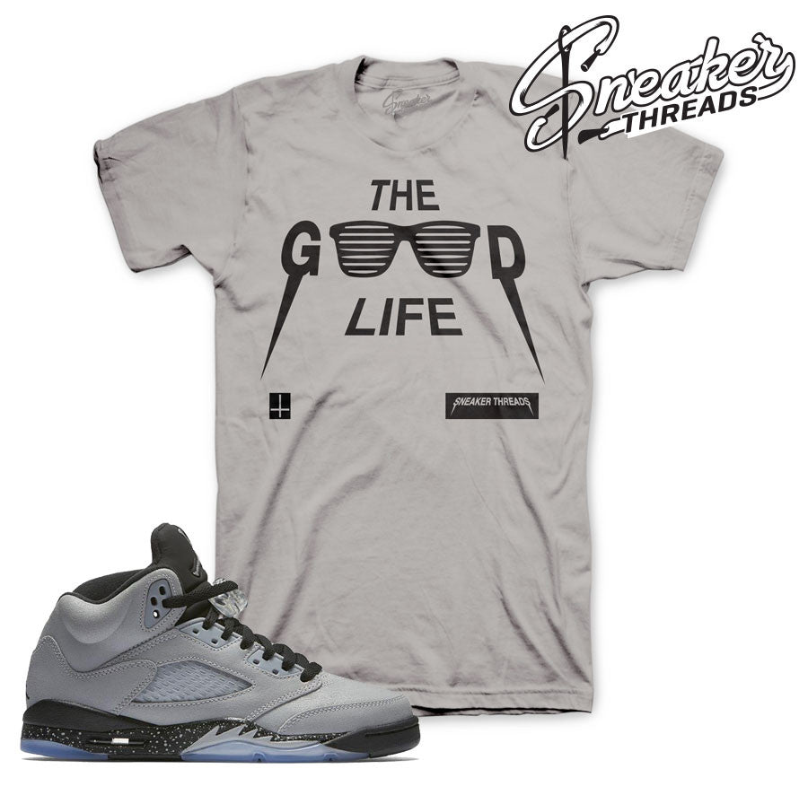 Jordan 5 GS wolf grey shirts match retro 5 wolf grey tees.