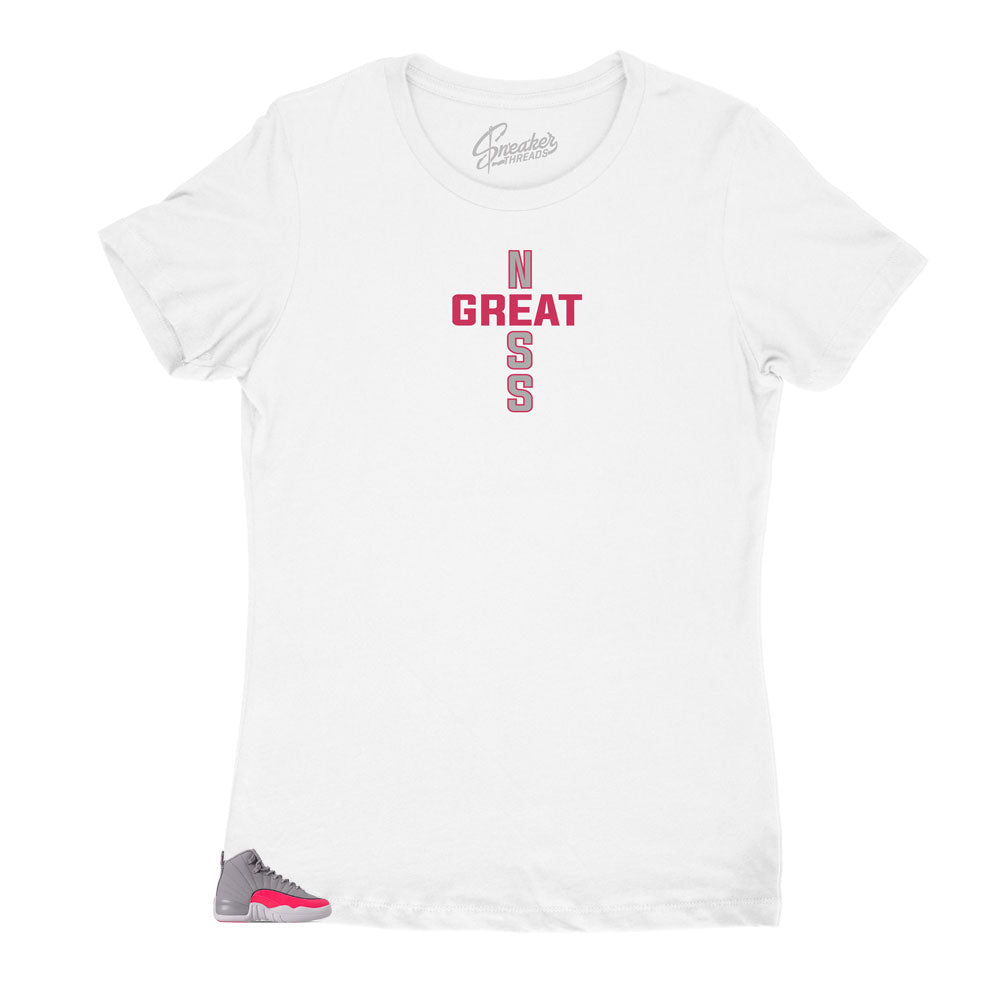 Jordan 12 Womens racer pink sneaker collection matches women shirts designed to match