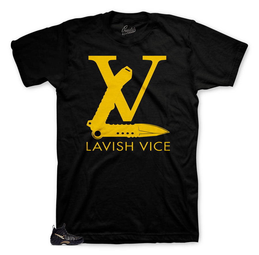 LV shirt to match foamposite black and gold metallic shoes.