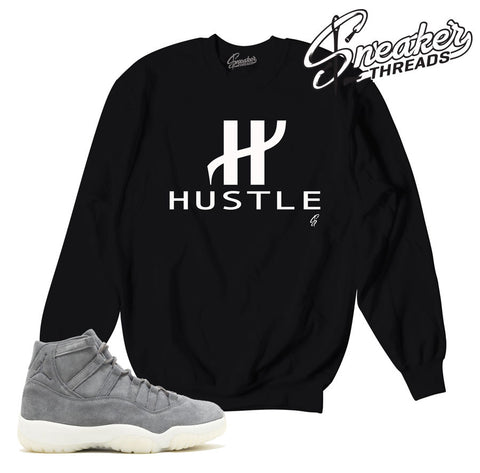 Jordan 11 grey suede sweaters match retro 11 premiums.