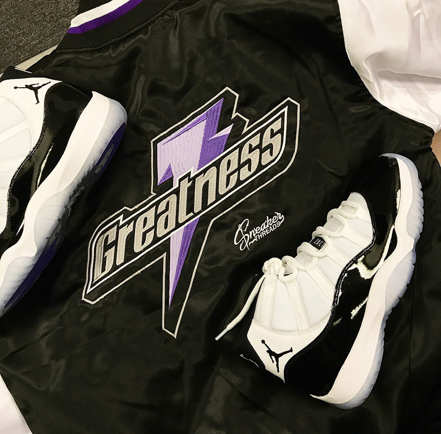 Jordan 11 concord jackets match retro 11s shoes.