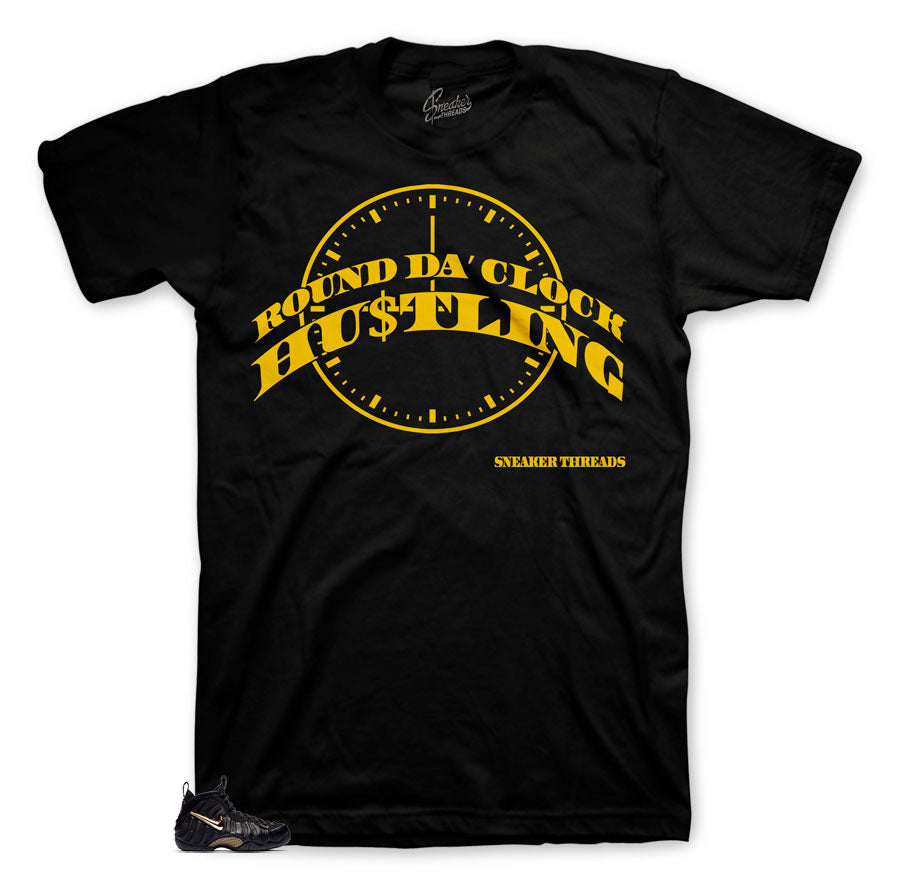 Round Da Clock shirt to match foamposite black and gold metallic shoes.