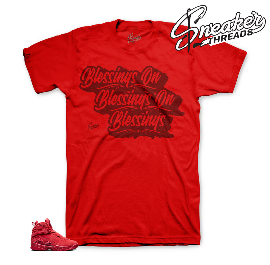 Jordan 8 valentine tees match gym red - Sneaker threads tees.