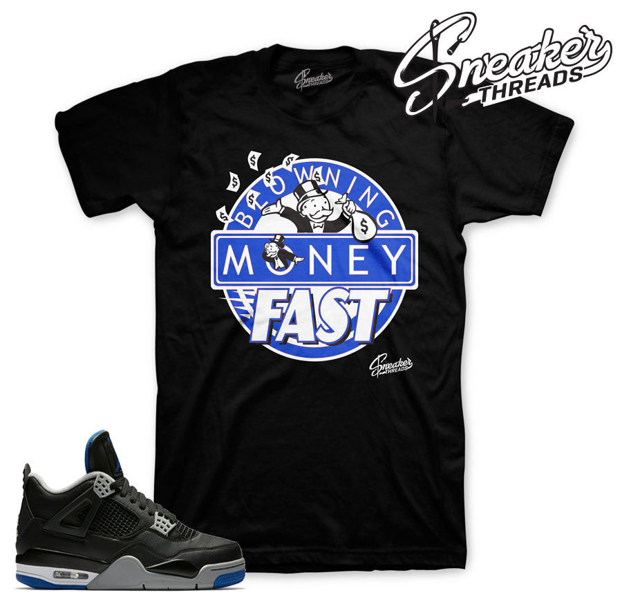 Jordan 4 black/royal motorsports official matching tees.