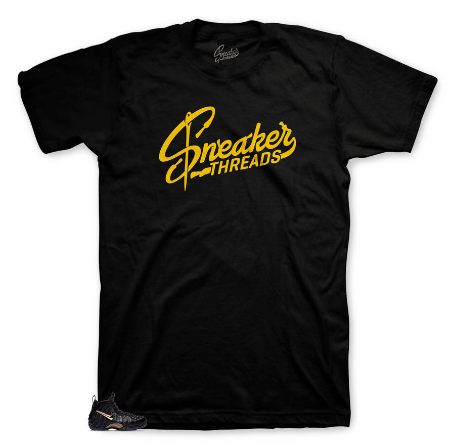 ST Original shirt to match foamposite black and gold metallic shoes.