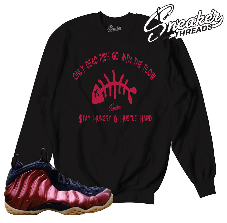 Foamposite maroon pbj sweaters match foam sneaker crews.