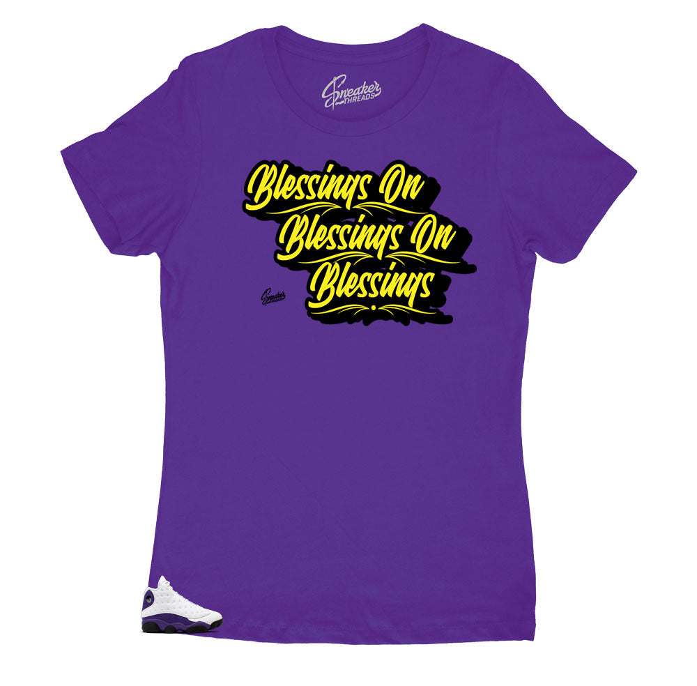 Jordan 13 laker sneakers have matching tee created to match perfectly with the sneaker collection lakers by Jordan 13