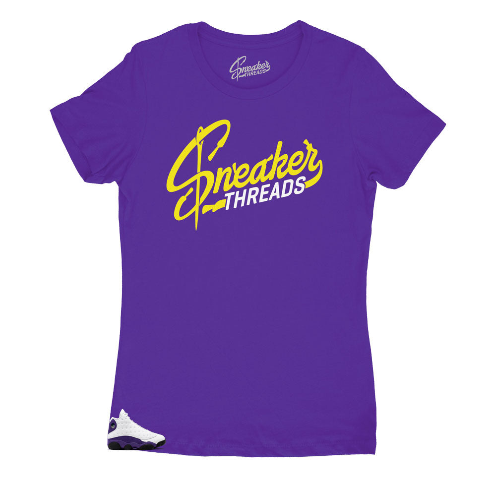 Jordan 13 laker shoes have matching t shirts designed to match perfectly