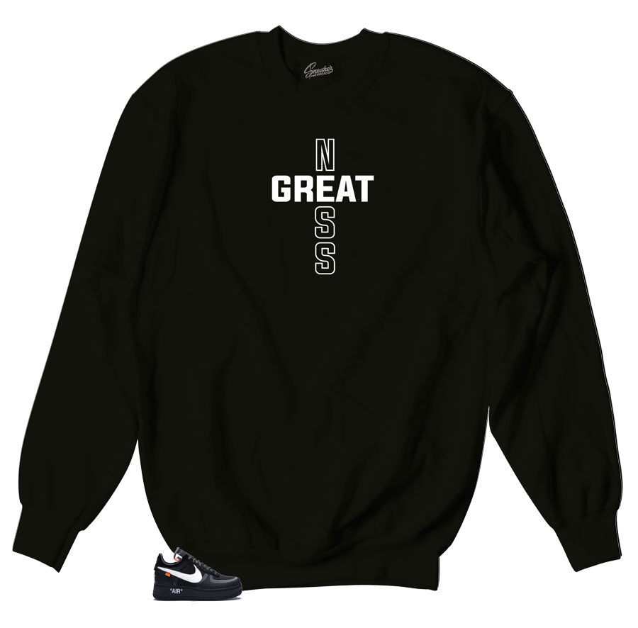 Black Crewneck Sweater designed to match sneakers Air Force One the 10 Off white sneakers