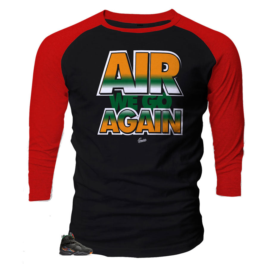 Jordan 8 Air Raid sneaker matching raglan shirt designed to match the Air Raid Jordan 8 shoes