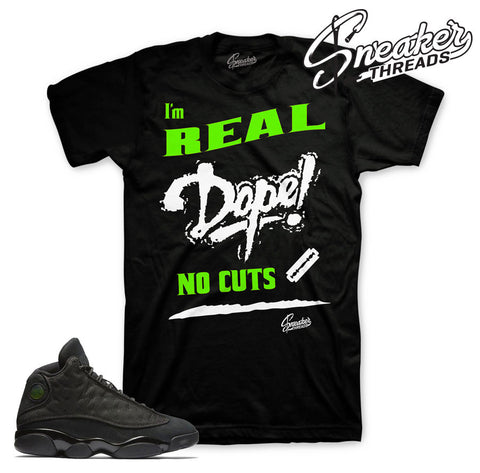 Tees match Jordan 13 black cat retro 13 sneaker tees.