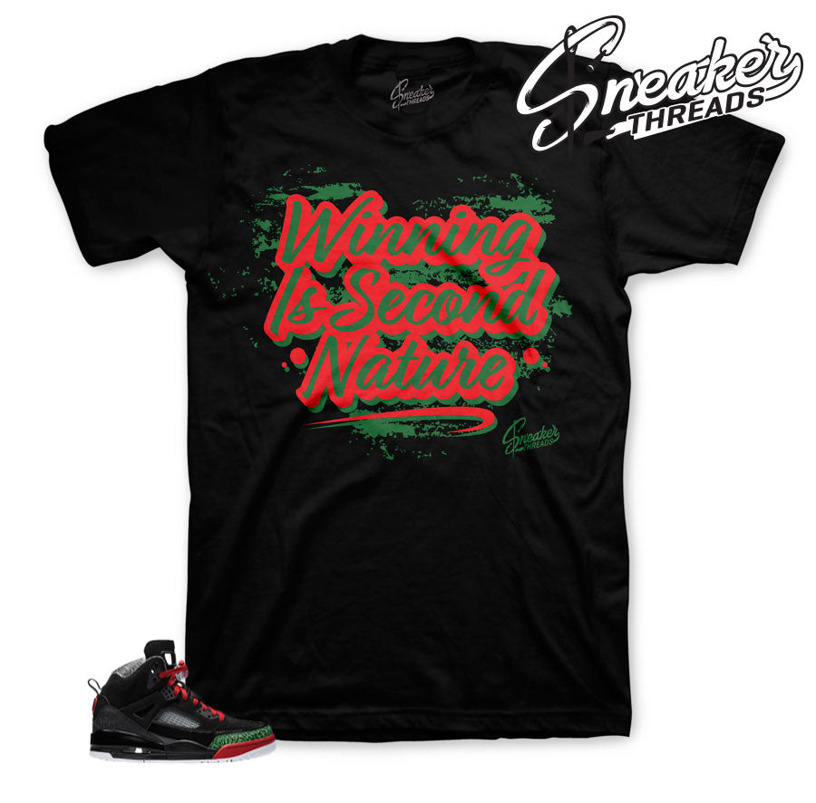 Jordan spizike black green tees and clothing match shoes.