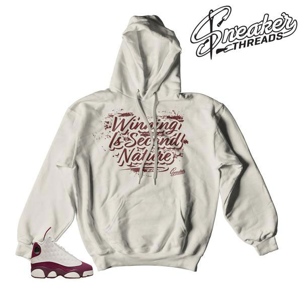 Jordan 13 bordeaux sail hooded sweatshirts match shoes.